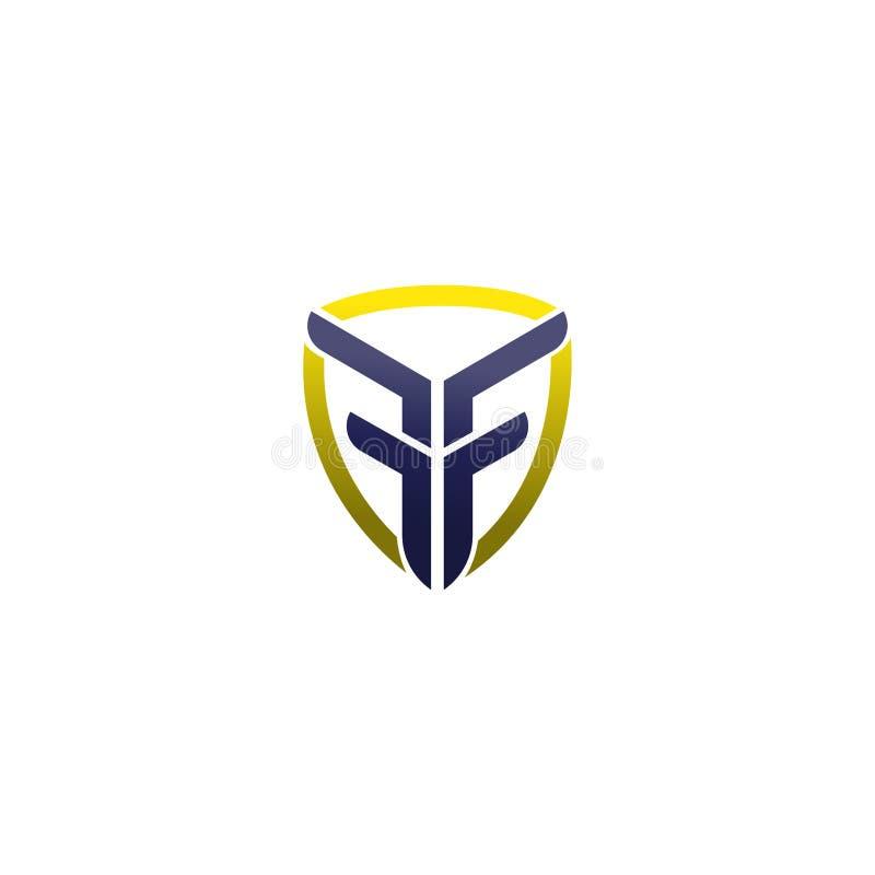 Logotipo abstrato da inicial da letra do FF símbolo da geometria do FF, molde do logotipo do vetor do ícone do alfabeto logotipo  ilustração stock