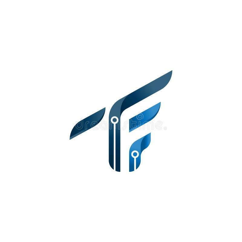Logotipo abstrato da inicial da letra do TF símbolo da geometria do TF, molde do logotipo do vetor do ícone do alfabeto logotipo  ilustração royalty free