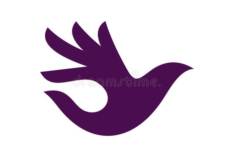 Logotipo abstrato da mão do pássaro ilustração do vetor