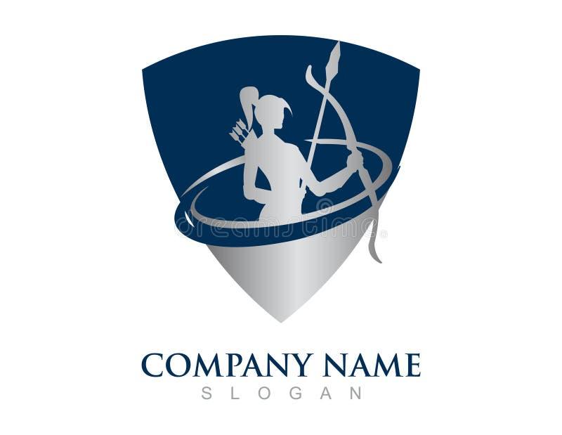 Logotipo abstrato da menina do guerreiro em um fundo branco ilustração royalty free
