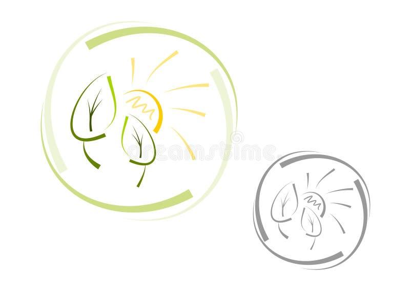 Logotipo abstrato da natureza: Sun e folhas ilustração do vetor