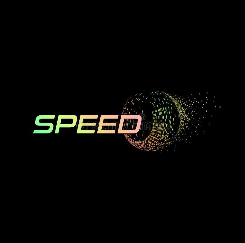 Logotipo abstrato da velocidade Tecnologia digital automotivo da auto roda Logotype isolado sumário do pneu de carro no preto ilustração do vetor