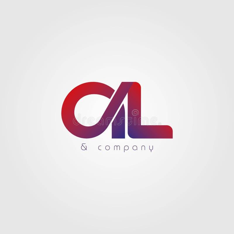 Logotipo abstrato do al das letras Vetor do projeto do logotipo de AL Letter com inclinação Pa?s do curso da cor dos busines do I ilustração royalty free