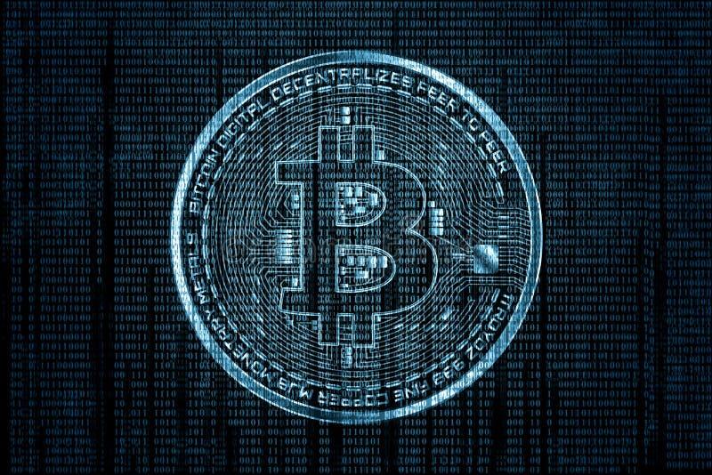 Logotipo abstrato do bitcoin da tecnologia no fundo do azul do código binário e da engrenagem ilustração stock