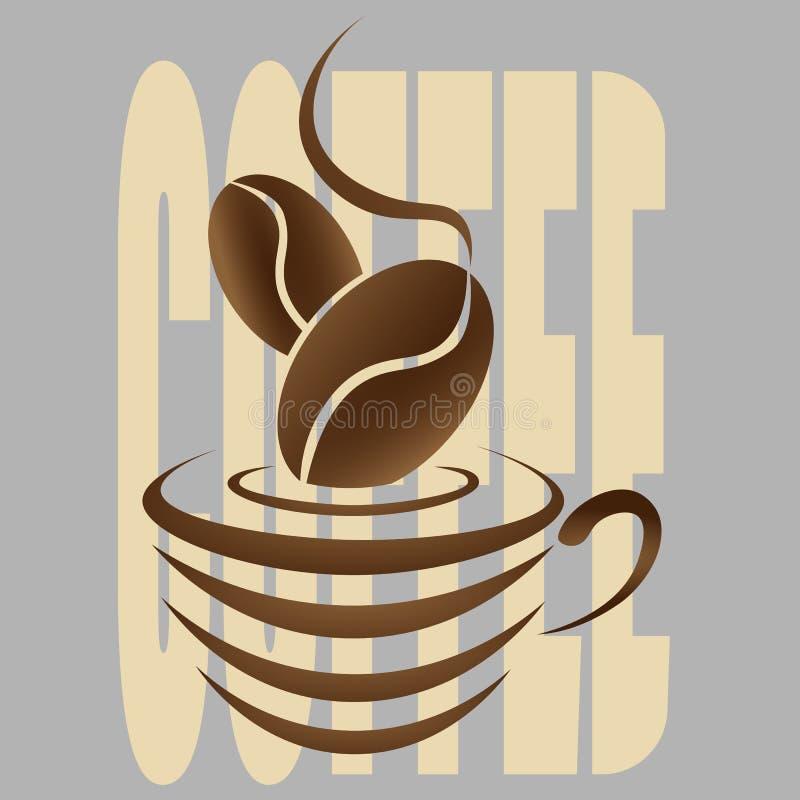 Logotipo abstrato do café com um copo e um feijão de café ilustração royalty free