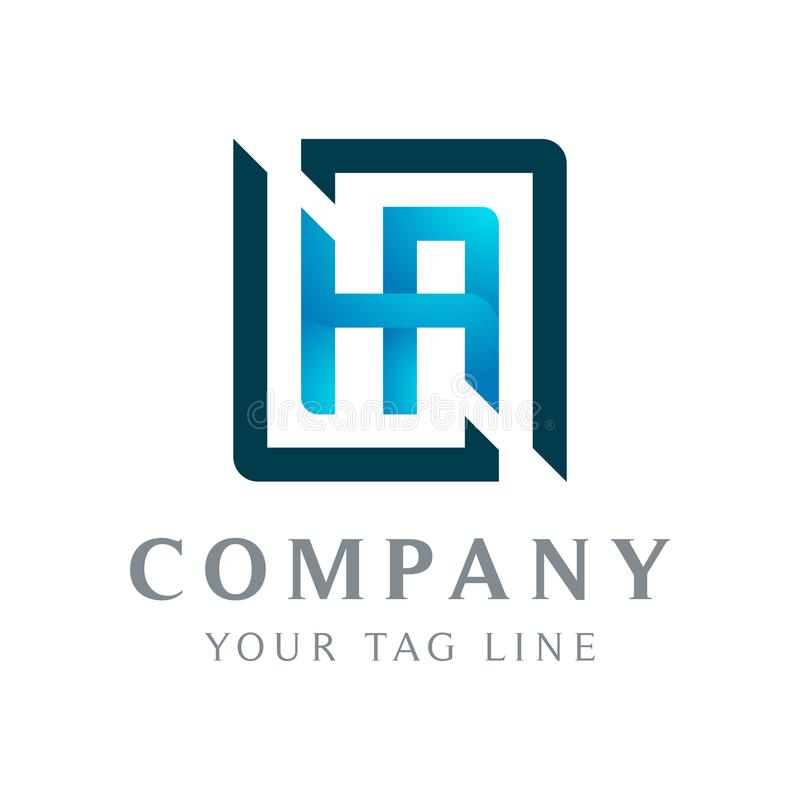 Logotipo abstrato do HA, a caixa que cerca o ilustração do vetor