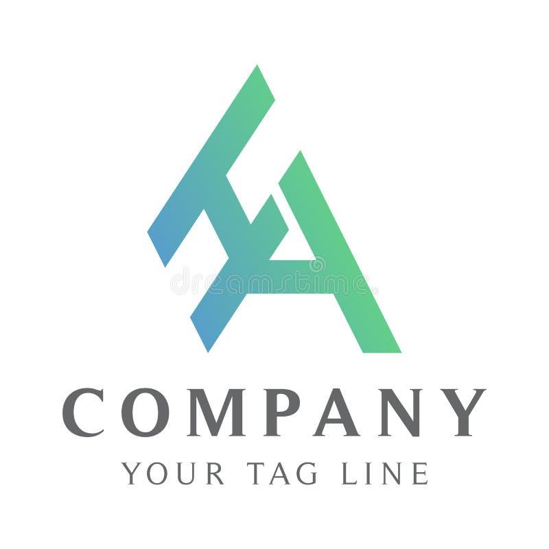 Logotipo abstrato do HA, com grada??o de cor ilustração do vetor