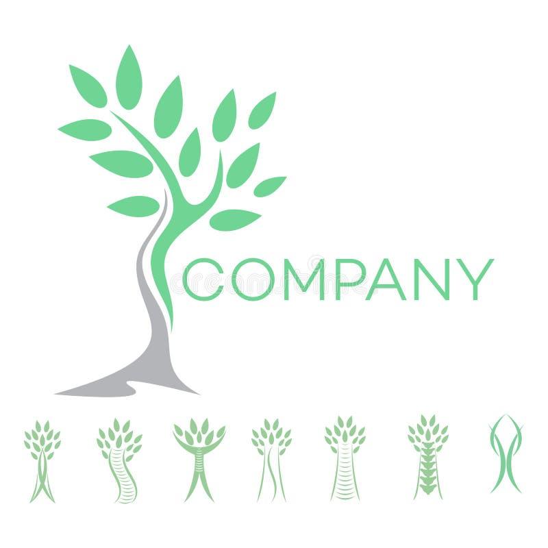 Logotipo abstrato do homem e da árvore ilustração royalty free