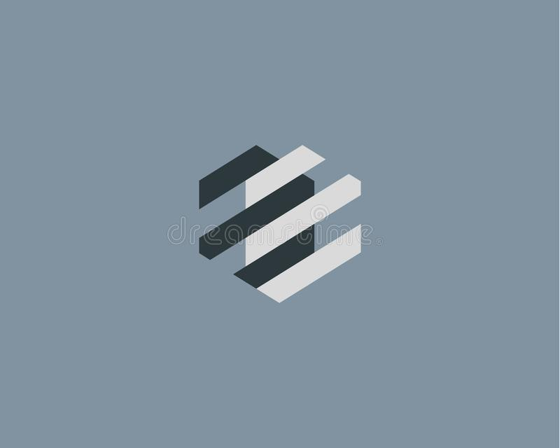 Logotipo abstrato do mecanismo do coração Logotype geométrico do vetor do dispositivo da construção ilustração stock