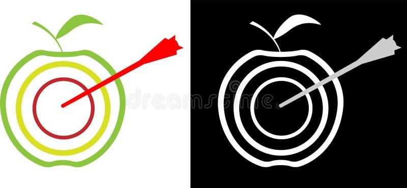 Logotipo abstrato do negócio da realização do objetivo do Apple-alvo e da seta ilustração do vetor