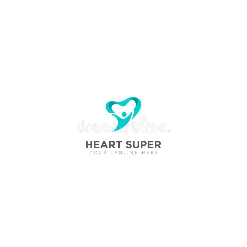 Logotipo abstrato do super-herói e do coração ilustração royalty free