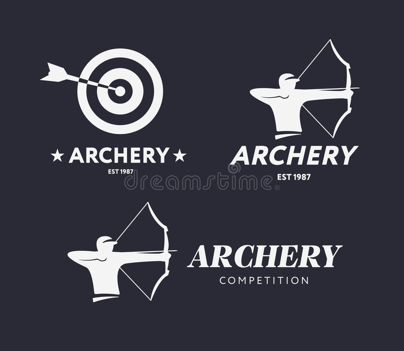 Logotipo abstrato do tiro ao arco Conceito do crachá do vetor Archer com curva e alvo do esporte com seta Competição do tiro ao a ilustração royalty free
