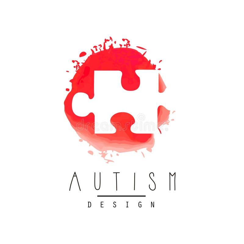 Logotipo abstrato do vetor com enigma Símbolo de Síndrome de Down Dia da conscientização do autismo Projeto para o convite, centr ilustração do vetor
