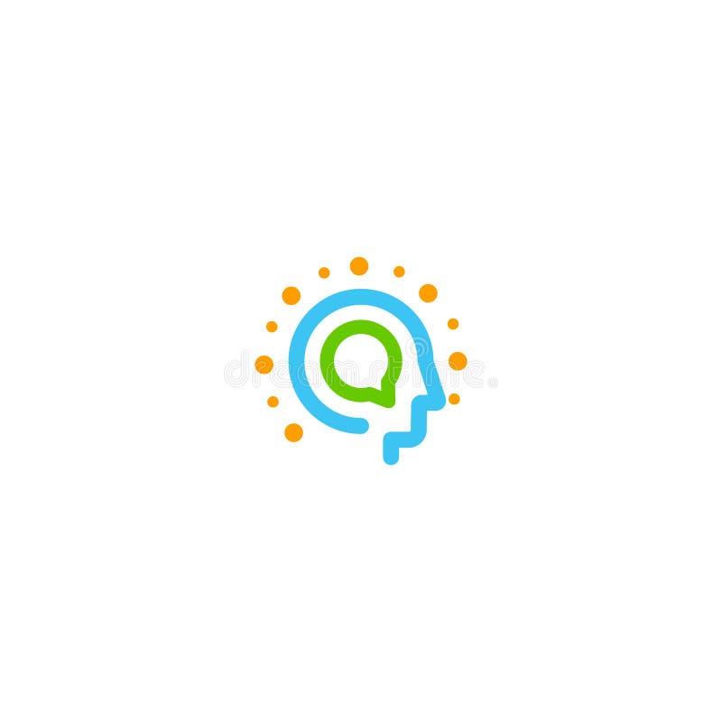 Logotipo abstrato do vetor da tecnologia da informação Cabeça do ser humano no estilo do lineart com a caixa redonda do diálogo q ilustração do vetor