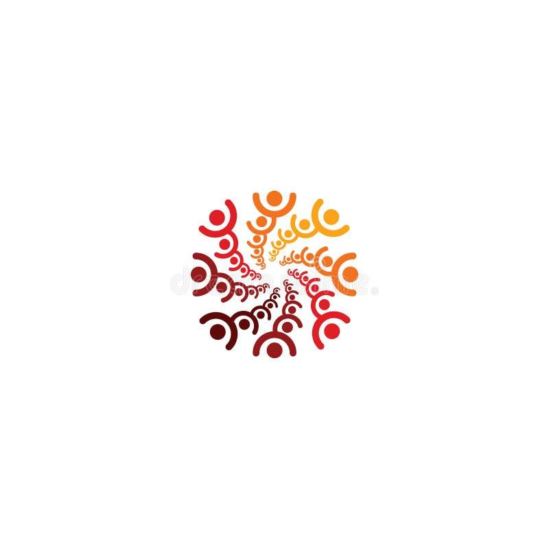 Logotipo abstrato do vetor que descreve os povos estilizados, que guardam as mãos e são unidos em uma união, em uma ajuda humana  ilustração royalty free