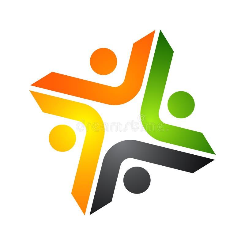 Logotipo abstrato do vetor que descreve os povos estilizados, que guardam han ilustração royalty free
