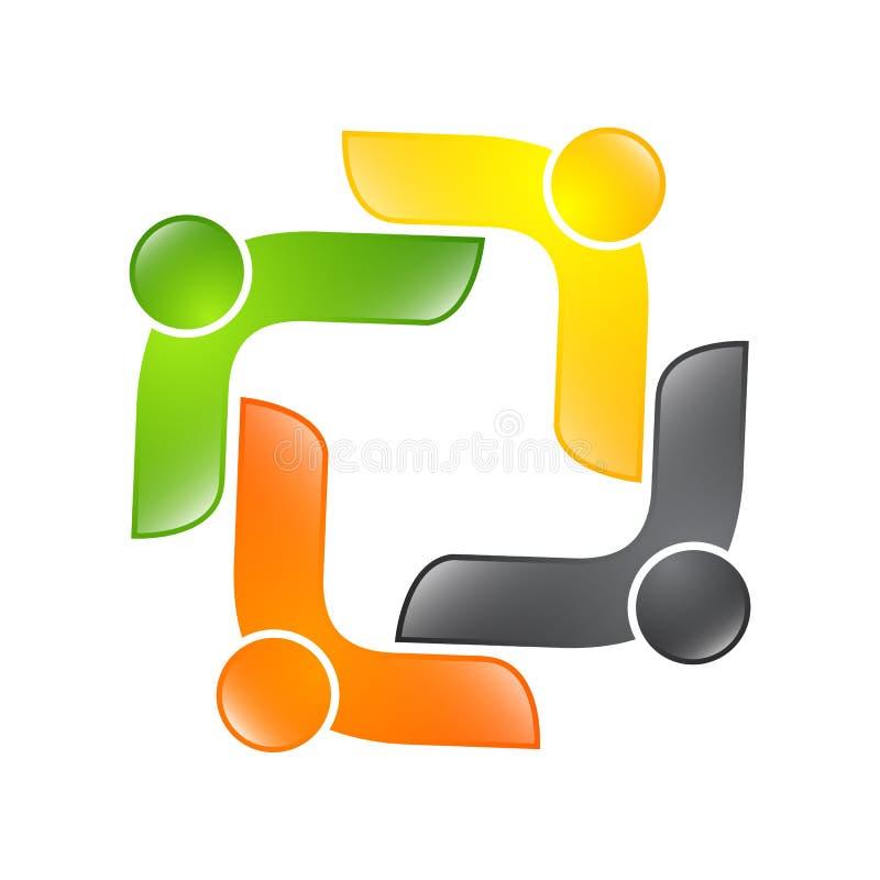 Logotipo abstrato do vetor que descreve os povos estilizados, que guardam han ilustração stock