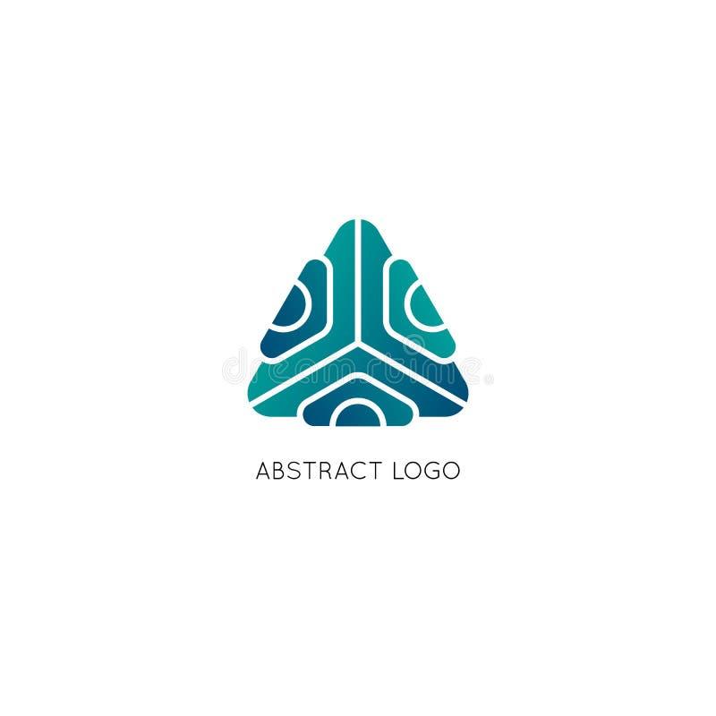Logotipo abstrato do vetor do triângulo Símbolo geométrico com inclinação Elemento do projeto para a identidade e os ícones da em ilustração stock