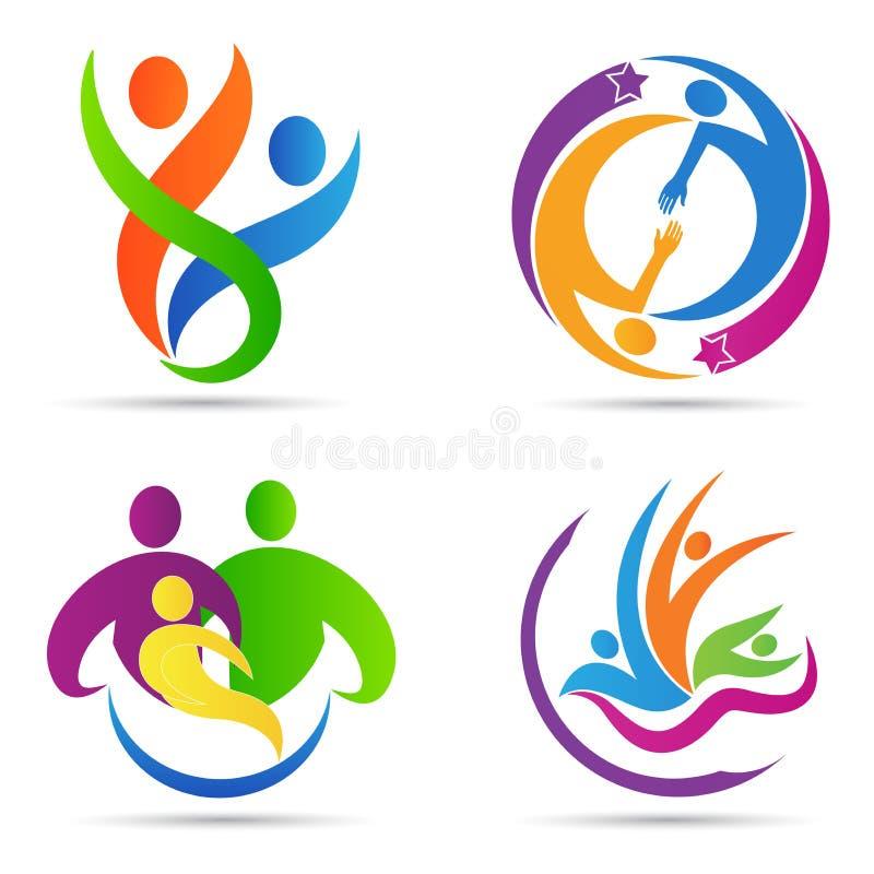 Logotipo abstrato dos povos ilustração do vetor