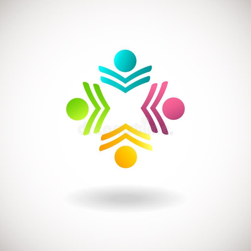 Logotipo abstrato dos povos, sinal, ícone Símbolos azuis, cor-de-rosa, verdes e amarelos dos povos ilustração royalty free