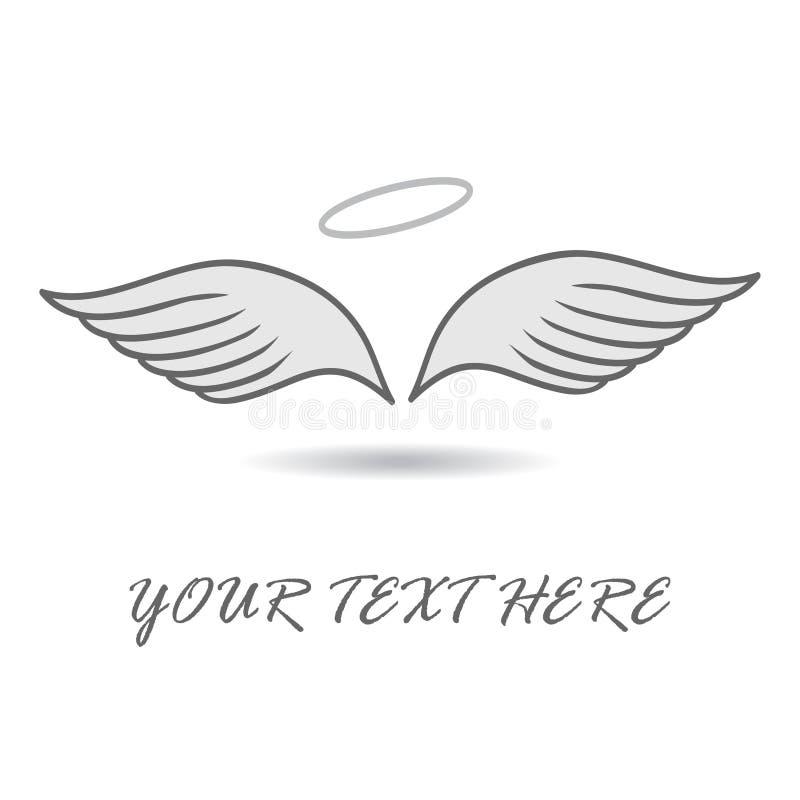Logotipo abstrato para a empresa de negócio Angel Wings Engrena o ícone ilustração royalty free