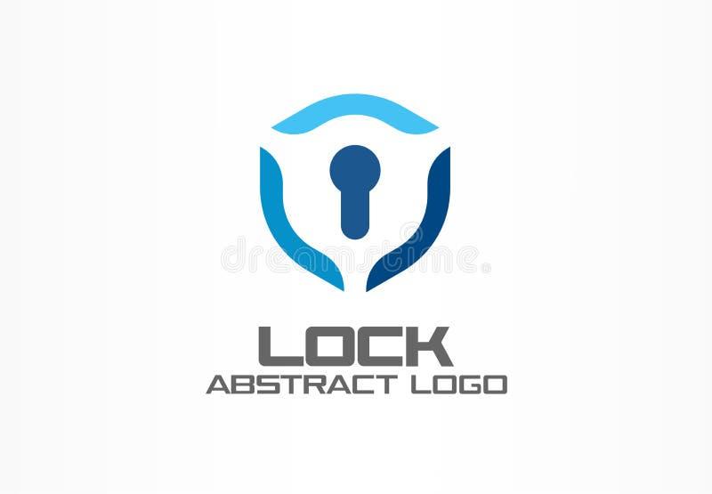 Logotipo abstrato para a empresa de negócio Elemento do projeto da identidade corporativa Protetor, protetor, ideia segura do log ilustração stock