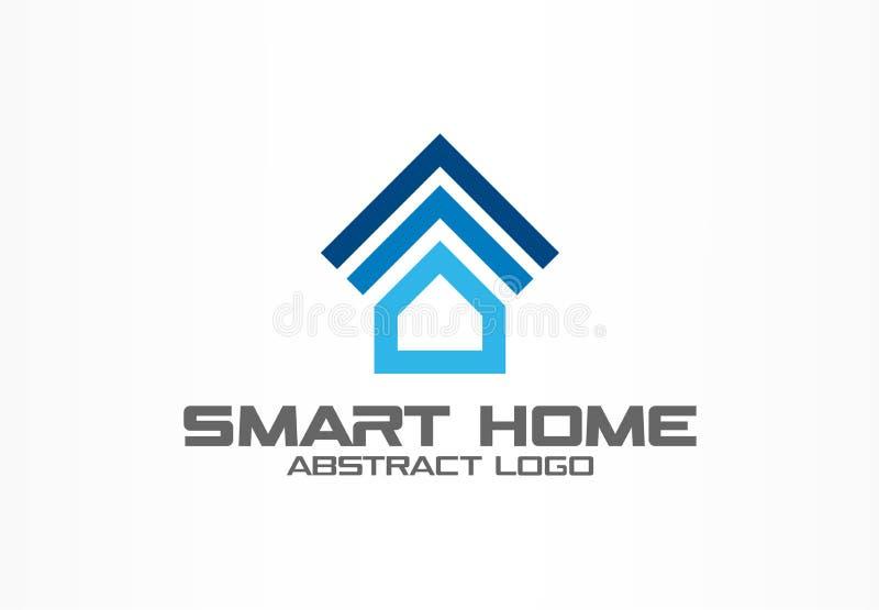 Logotipo abstrato para a empresa de negócio Elemento do projeto da identidade corporativa Sistema esperto da casa, logotype do co ilustração royalty free