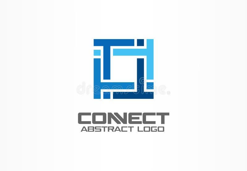 Logotipo abstrato para a empresa de negócio Indústria, finança, ideia do logotype do banco O grupo quadrado, rede integra, tecnol ilustração royalty free