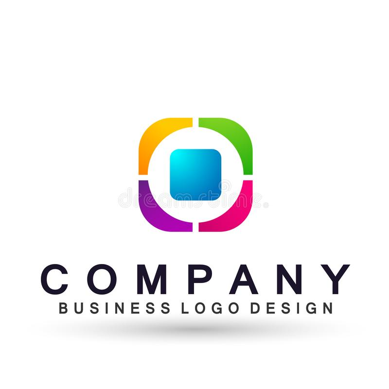 Logotipo abstrato para a empresa de neg?cio Elemento do projeto da identidade corporativa Quadrado da tecnologia, rede, equipe da ilustração do vetor