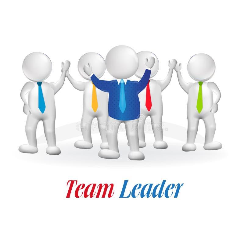 logotipo acertado del trabajo en equipo del líder de la pequeña persona 3d ilustración del vector