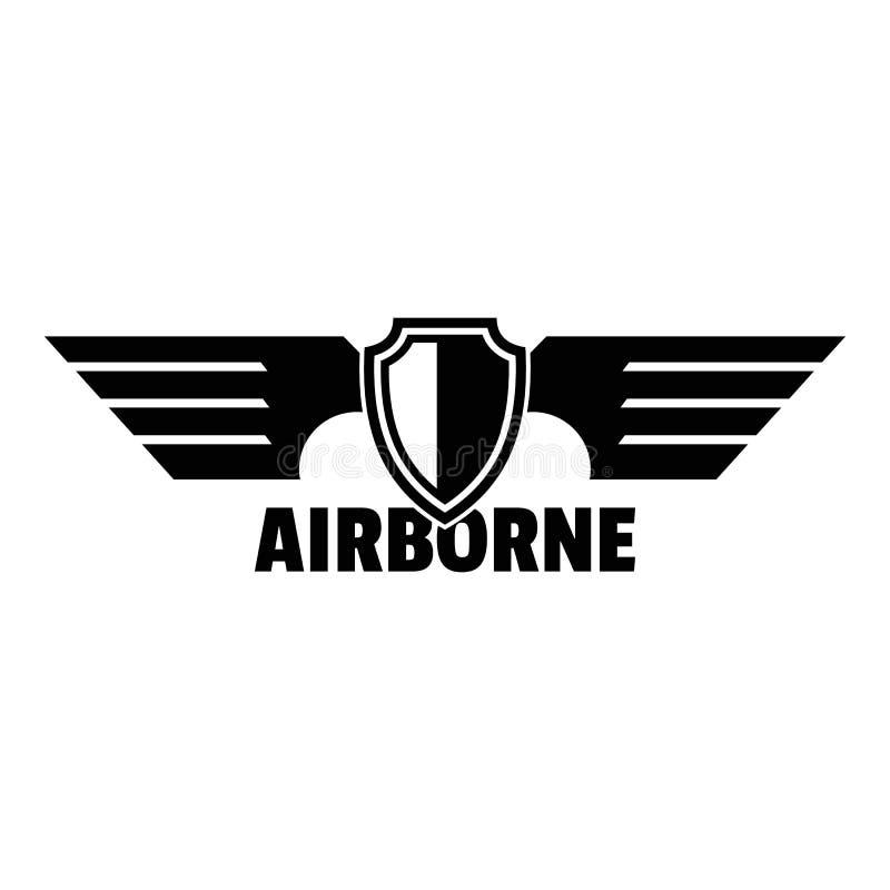 Logotipo aerotransportado de las alas, estilo simple ilustración del vector