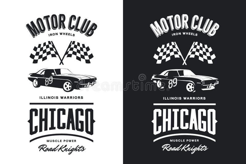 Logotipo aislado blanco y negro del vector del vehículo del músculo del vintage ilustración del vector