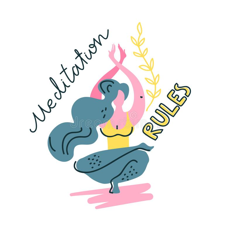 Logotipo aislado de la yoga Muchacha de equilibrio Estilo de moda plano libre illustration