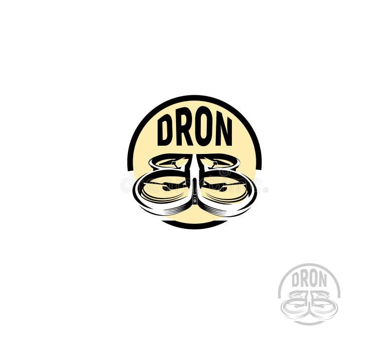 Logotipo aislado del quadrocopter del color del negro de la forma redonda en el fondo blanco, logotipo aéreo sin tripulación del  ilustración del vector