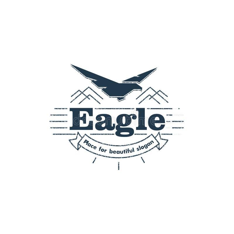 Logotipo aislado del vector de la silueta del águila que vuela libre illustration