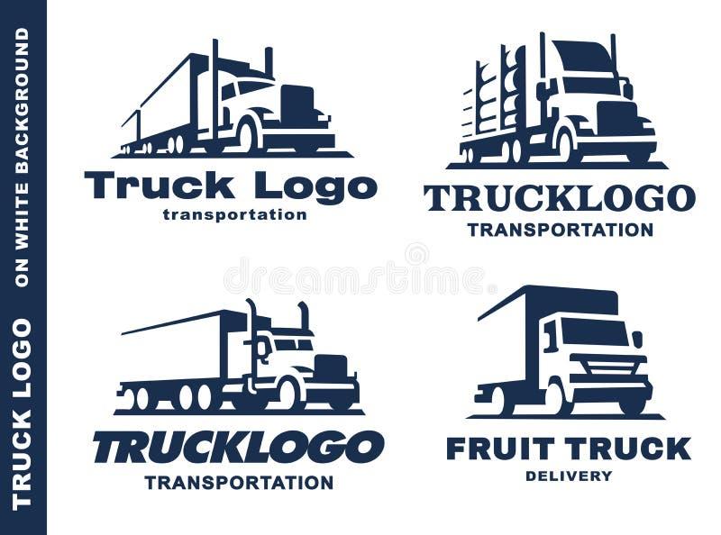 Logotipo ajustado com caminhão e reboque ilustração royalty free