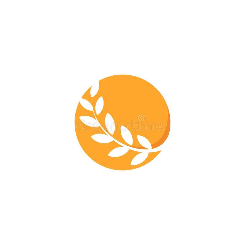 Logotipo alaranjado da cor do círculo abstrato, ramo com folhas, ícone redondo do trigo Logotype da forma redonda ilustração do vetor