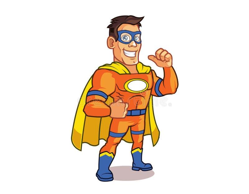 Logotipo alaranjado do super-herói ilustração stock