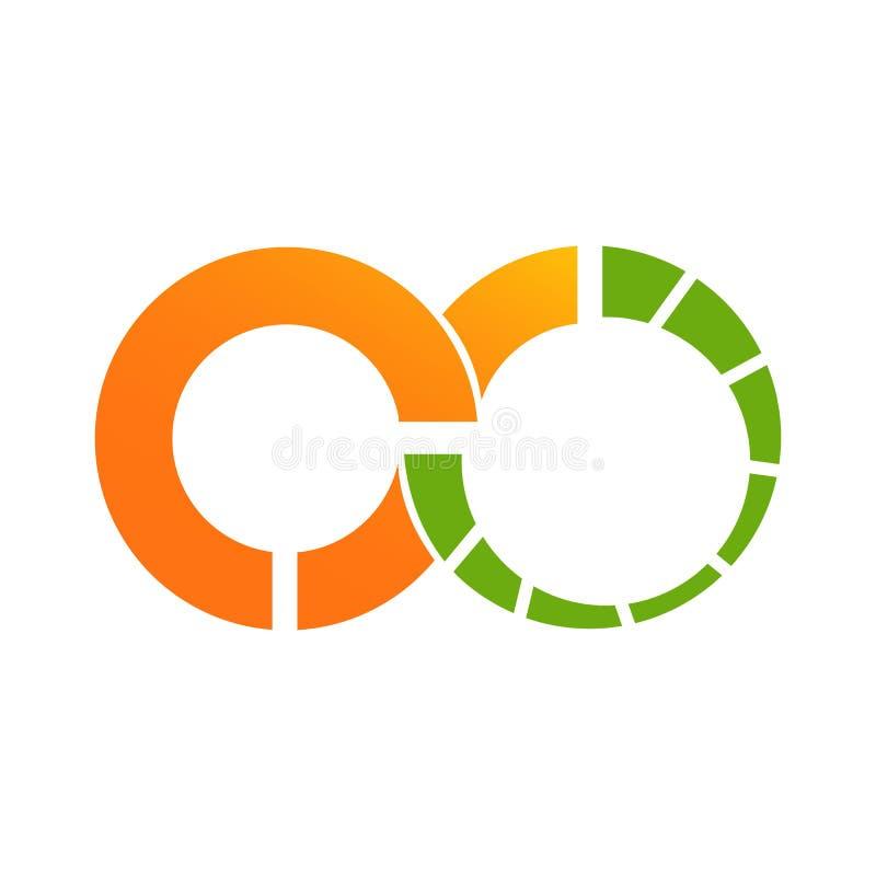 Logotipo alaranjado dos dados da infinidade do círculo ilustração stock