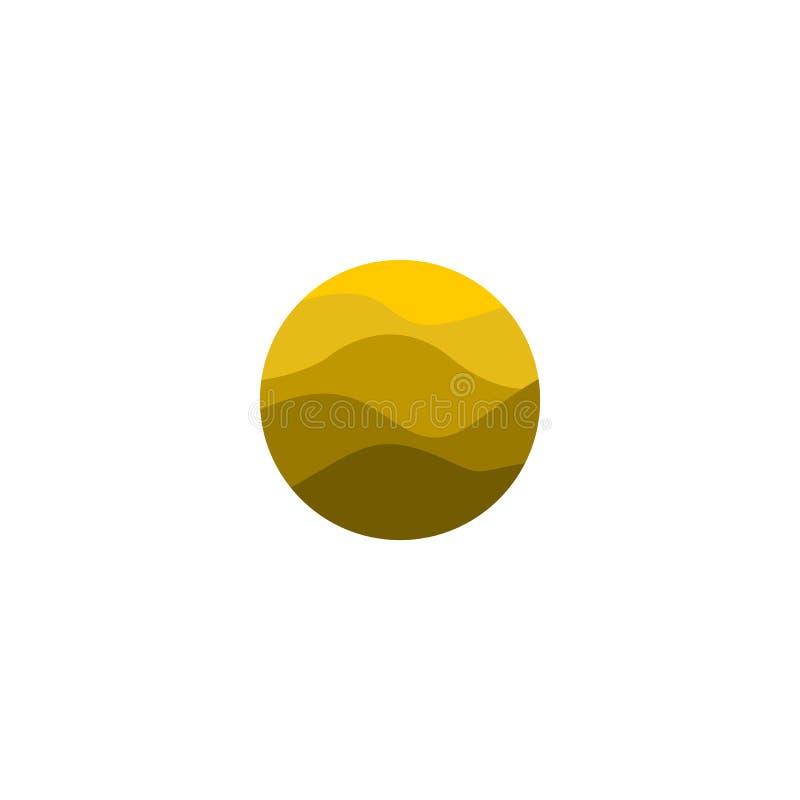 Logotipo amarelo abstrato isolado da forma redonda da cor Logotype do deserto Imagem da areia Ícone das montanhas Linhas elemento ilustração stock
