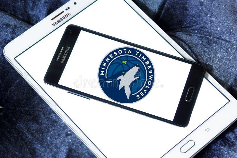 Logotipo americano da equipa de basquetebol de Minnesota Timberwolves fotos de stock royalty free
