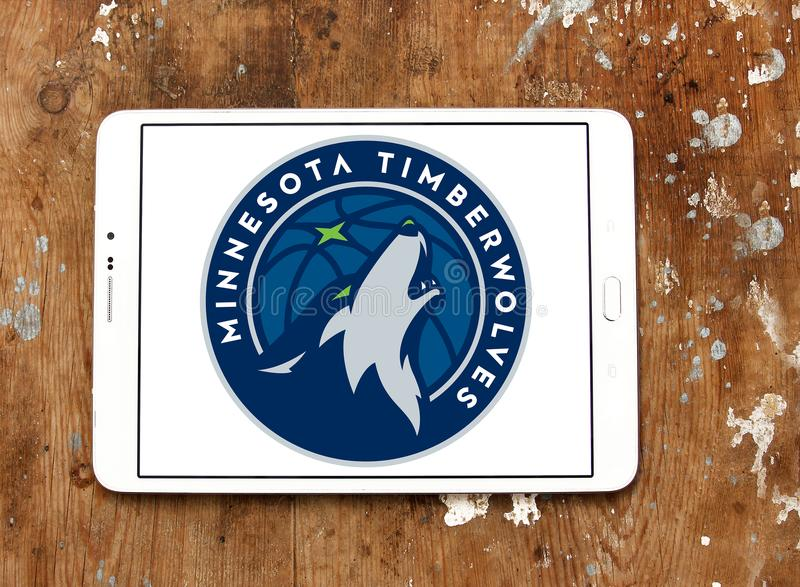 Logotipo americano da equipa de basquetebol de Minnesota Timberwolves fotos de stock
