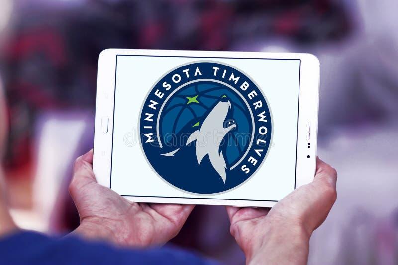 Logotipo americano da equipa de basquetebol de Minnesota Timberwolves foto de stock