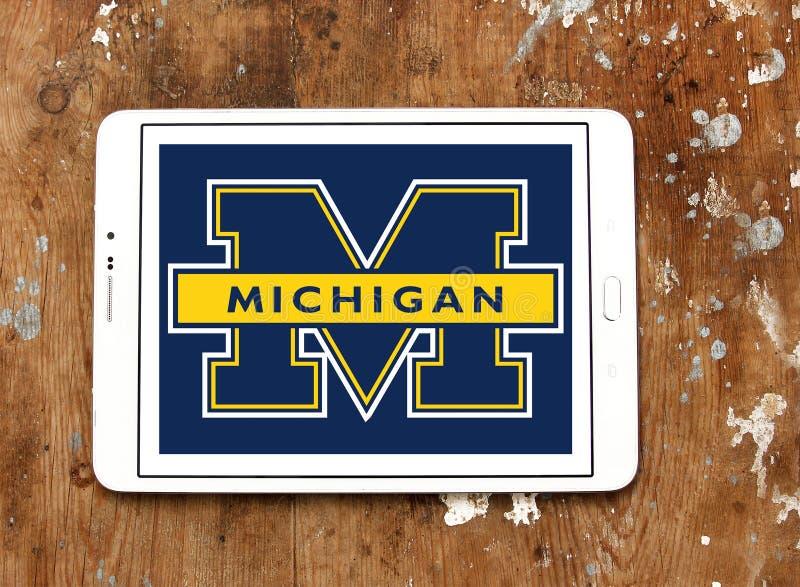 Logotipo americano da equipa de futebol dos Wolverines de Michigan fotos de stock