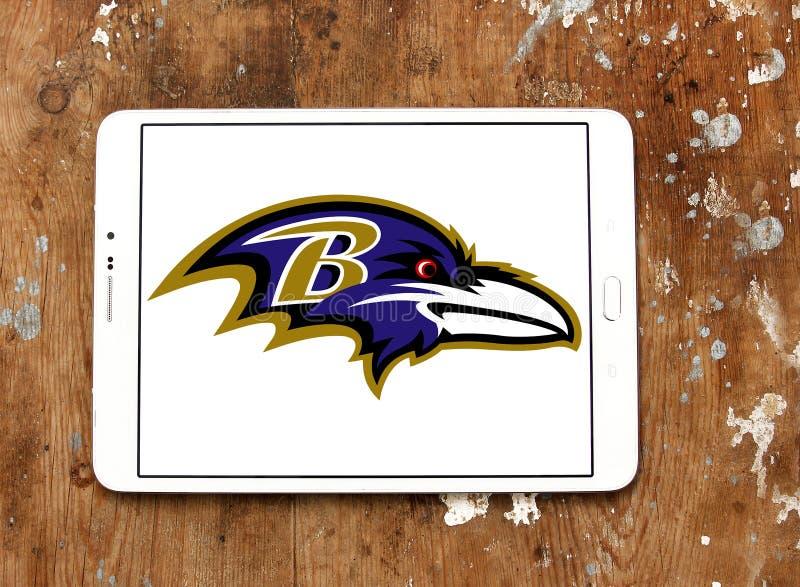 Logotipo americano del equipo de fútbol de los Baltimore Ravens imágenes de archivo libres de regalías