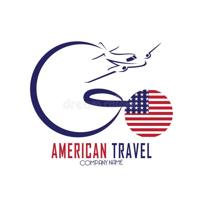 Logotipo americano del viaje con el avión y bandera americana ilustración del vector