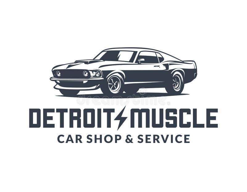 Logotipo americano do vetor do carro do músculo isolado no fundo branco ilustração do vetor