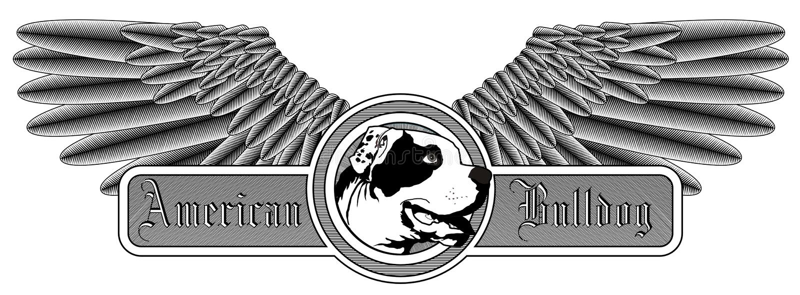 Logotipo americano voado do buldogue ilustração stock
