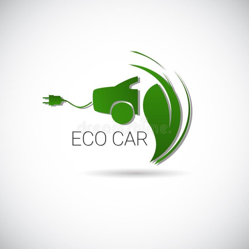 Logotipo amistoso del icono del web de la máquina del ambiente del coche eléctrico de Eco ilustración del vector