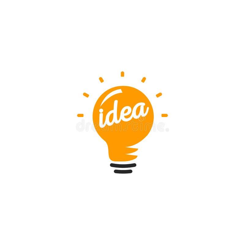 Logotipo anaranjado abstracto aislado de la bombilla del color, encendiendo el logotipo en el fondo blanco, ejemplo del vector de stock de ilustración